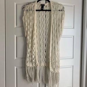 Crochet fringe long vest